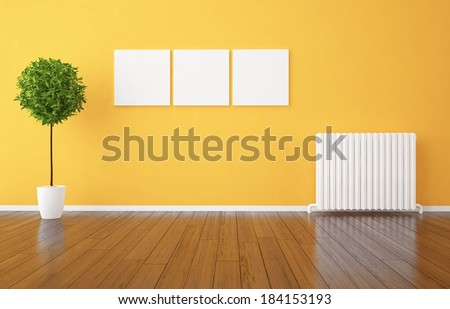 empty orange interior  - stock photo