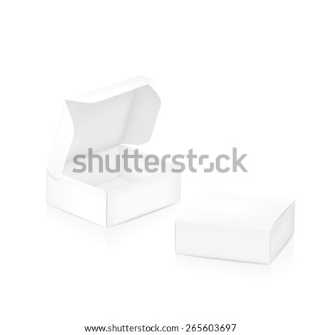 Empty package box. Two white packaging boxes closed and open.  - stock photo