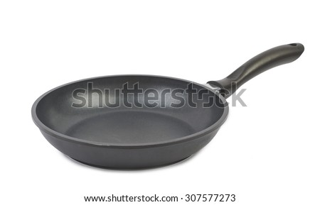 Empty pan isolated on white background - stock photo