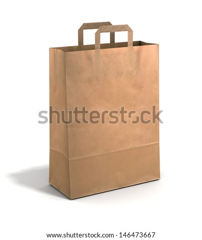 Empty paper bag on a white background. - stock photo