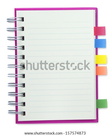 empty paper of blank notebook empty Pink cover isolate with clipping path - stock photo