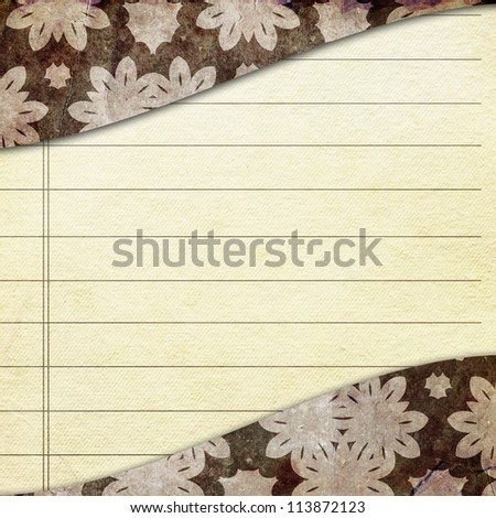 Empty paper sheet and cover with ornament - stock photo