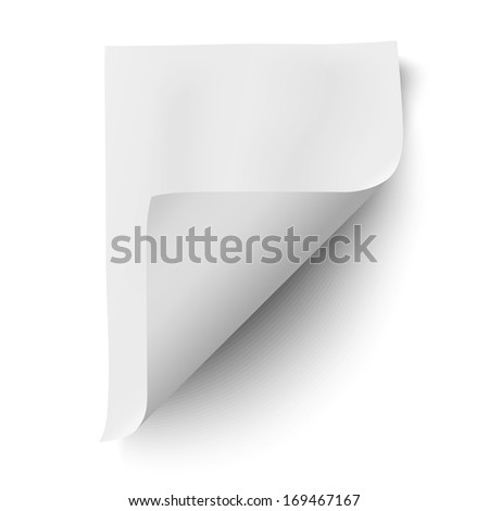 Empty paper sheet isolated on white background. Raster version illustration. - stock photo