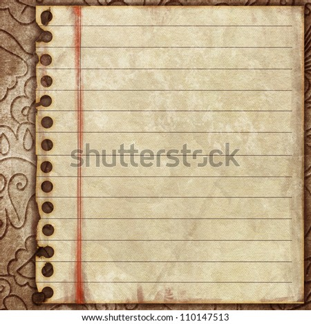 Empty paper sheet on ornamental wall - stock photo