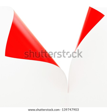 Empty paper sheet with 2 Sided Materials, White and Red Illustration - stock photo