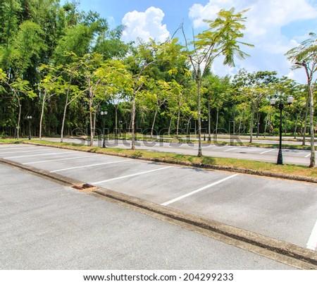 Empty parking lot - Parking lane outdoor in public park  - stock photo