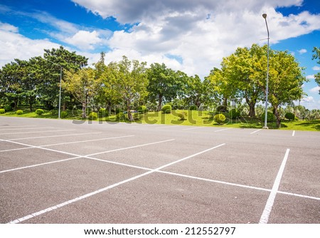 Empty Parking Lot ,Parking lane outdoor in public park  - stock photo