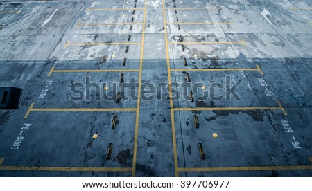 Empty Parking Lot ,Parking lane outdoor in public park - stock photo