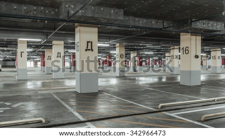 Empty parking lot wall. Urban industrial background. - stock photo