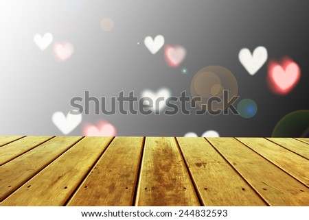 Empty perspective room with sparkling bokeh wall and wooden plank floor,Template mock up for display of your product - stock photo