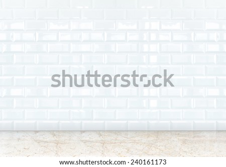 empty perspective room with white ceramic tiles wall and marble floor,Template for adding your content - stock photo