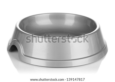 Empty pets bowl isolated on white - stock photo
