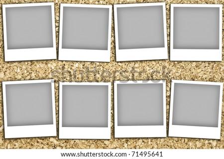 Empty photos on a corkboard - stock photo
