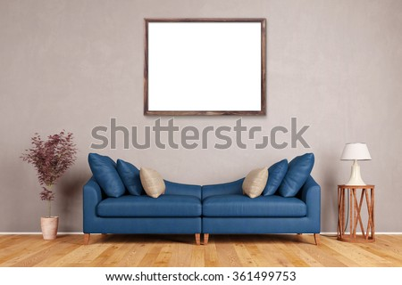 Empty picture frame on wall over sofa in a living room (3D Rendering) - stock photo