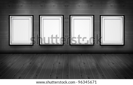 Empty picture frames in the art gallery wood room black and white - stock photo