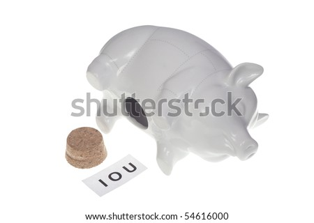 Empty piggy bank with IOU sign inside - dept - stock photo