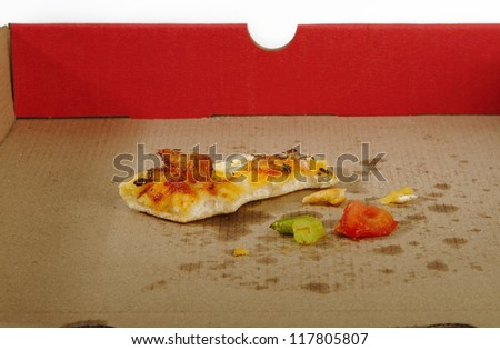 empty pizza box with one scrap of a piece remains - stock photo