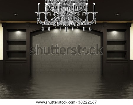 empty place on the wall with chandelier - stock photo