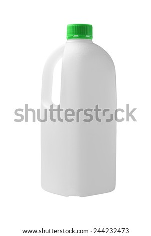 Empty Plastic Container For Fruit Juice On White Background - stock photo