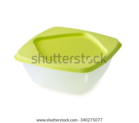 empty plastic lunchbox with lid isolated on white background - stock photo