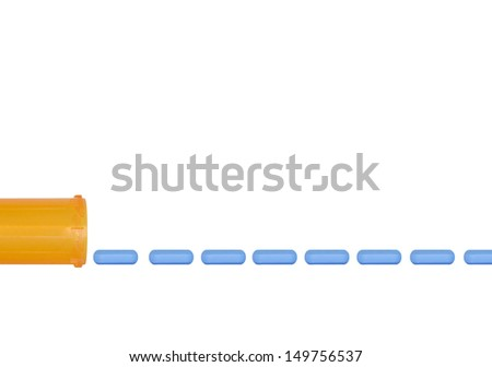 Empty plastic orange plastic pill bottle and identical oval shape blue pills in a row. Side view. Horizontal photo. Isolated on a white background. Room for text, copyspace. - stock photo