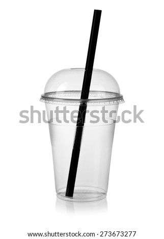Empty plastic smoothie cup with a straw - stock photo