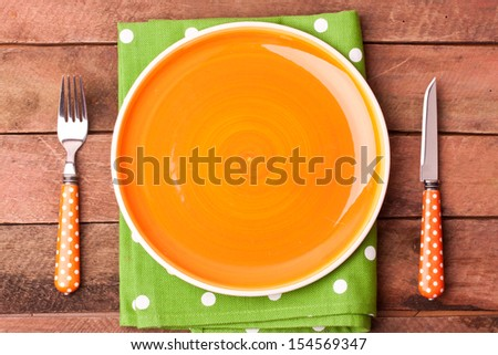 empty plate and fork, knife - stock photo