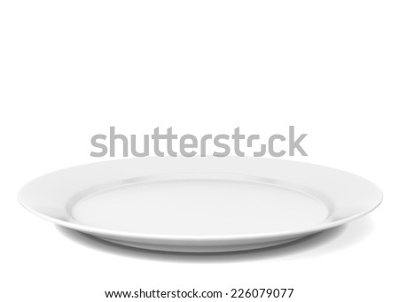 Empty plate. 3d illustration isolated on white background  - stock photo