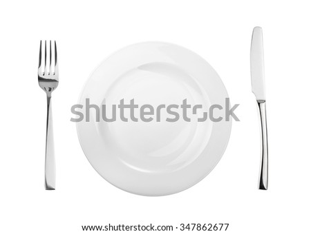 Empty plate, fork and knife isolated on white, without shadow - stock photo