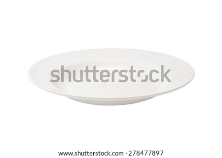 Empty plate isolated on white background with clipping path - stock photo