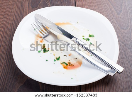 Empty plate left after dinner - stock photo