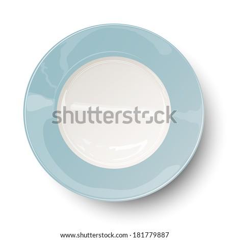 Empty plate. Raster version illustration. - stock photo