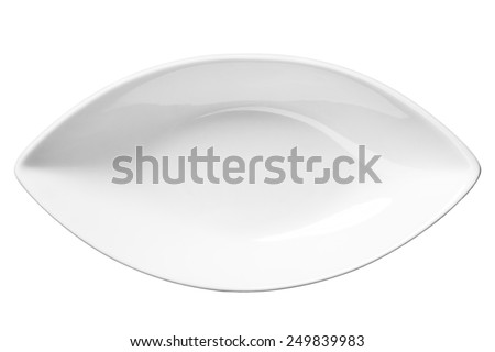 Empty plate / top-view photos of kitchen accessories - isolated on white background  - stock photo