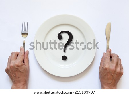 empty plate with cutlery in hand - stock photo