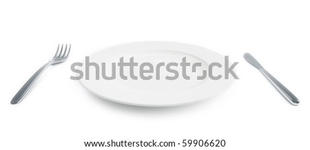 empty plate with fork and knife - stock photo