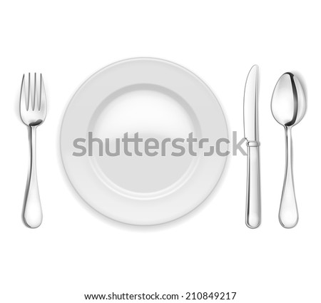 empty plate with spoon, knife and fork on white background - stock photo
