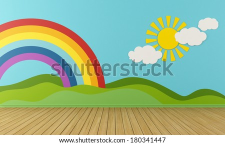 Empty Playroom with rainbow,green hills, sun and clouds on the wall- rendering - stock photo