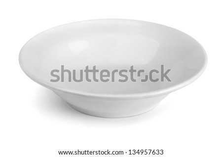 Empty porcelain soup plate isolated on white - stock photo