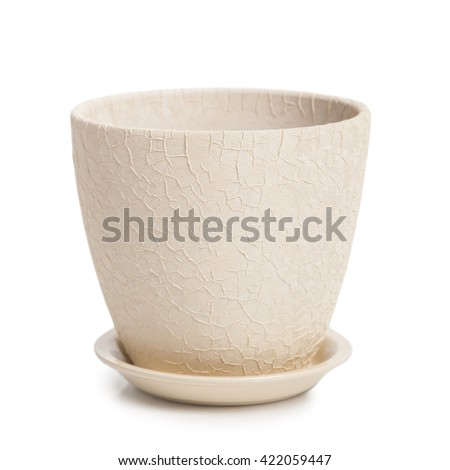 Empty pot isolated on white background - stock photo