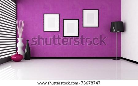empty purple interior with vase and floor lamp - rendering - stock photo
