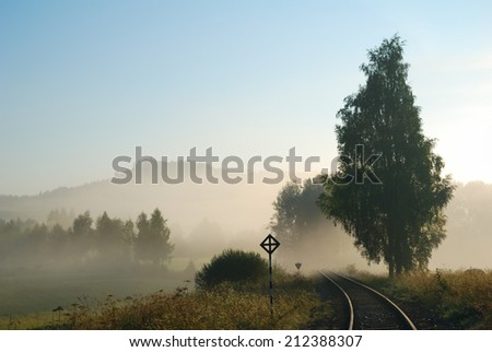Empty railway track in a foggy countryside - stock photo