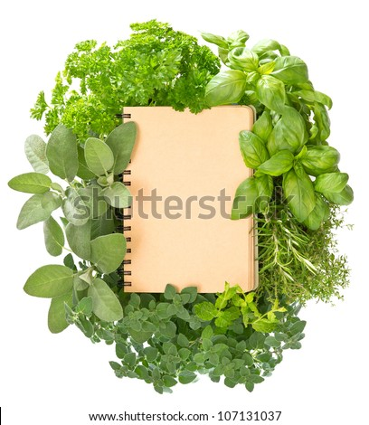 empty recipe book with variety fresh haelthy herbs over white background - stock photo