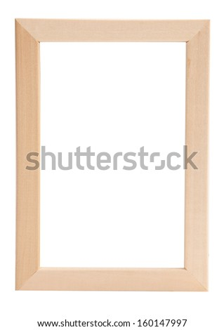 Empty rectangular wooden photo frame with texture and blank white copy space. Isolated on white. - stock photo