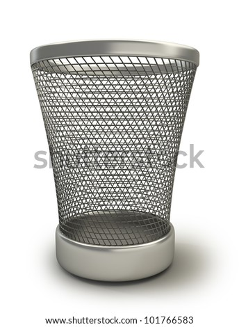 Empty recycle bin isolated on white background high resolution 3d render - stock photo
