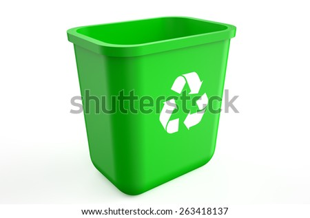 empty recycle green bin isolated on  white background  - stock photo