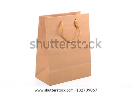 Empty recycled paper shopping bag, safe shopping, saving enviroment shopping, recycle concept - stock photo