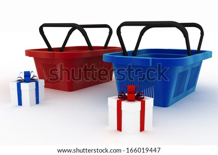 Empty red and blue plastic shopping baskets with boxes of gifts. 3d render illustration on white background - stock photo