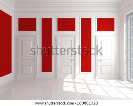 Empty red interior with three white door - stock photo
