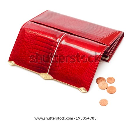 Empty red leather purse with some coins isolated on white background - stock photo