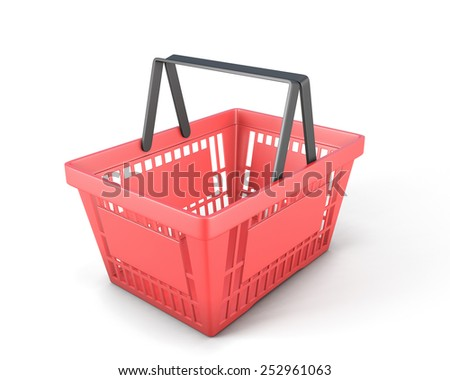 Empty red plastic shopping basket clipping path. 3d render image. - stock photo